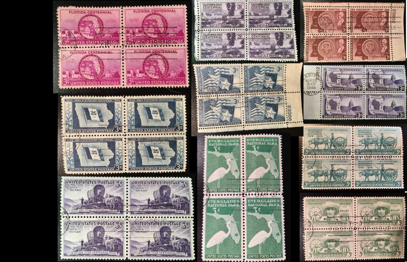 10 First Day Issue blocks: States, Bundle Discount, Vic's Stamp Stash