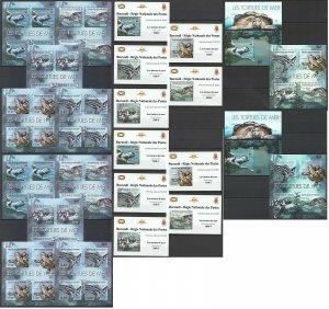 BU50 IMPERF,PERF 2012 BURUNDI FAUNA MARINE LIFE REPTILES TURTLES 12BL+12KB MNH