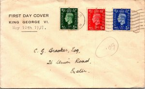 George VI first day cover ½d 1d 2½d stamps 1937 mailed to Exeter UK