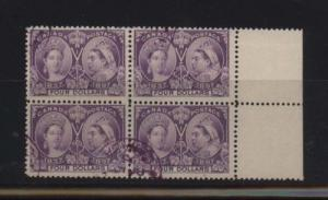 Canada #64 VF Used Margin Block Of Four **With Cert.**