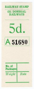 (I.B) County Donegal Railway : Parcel Stamp 5d