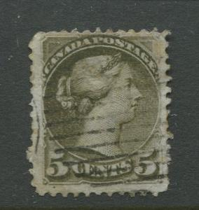 Canada  #38  Used  1876 QV Single 5c Stamp