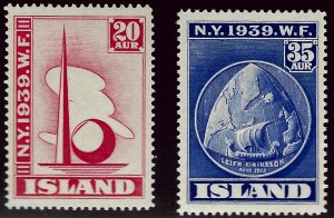 Vibrant Iceland SC #213-214 Mint F-VF hr SCV$8...Fill a great bargain spot!...