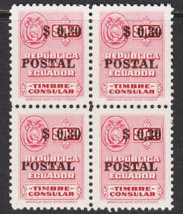 Ecuador Scott 554 VF mint OG NH block of 4.