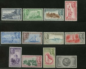 BARBADOS Sc#216-227 1950 KGVI ¢-$ Pictorials Complete Set OG Mint LH