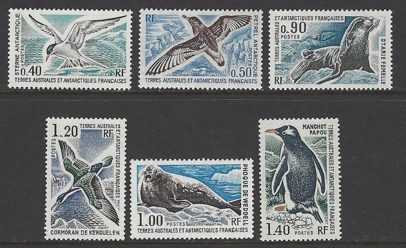 FSAT TAAF 1976 Birds Seal Penguin VF MNH (58-63)