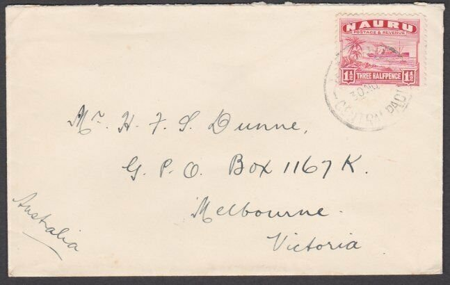 NAURU 1938 commercial cover to Australia with 1½d freighter.................N130