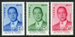 Morocco 16-18, MNH. Prince Moulay el Hassan, heir to the throne, 1957