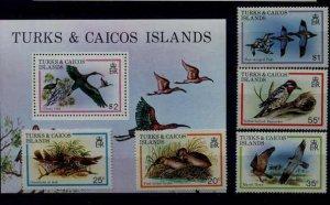 Turks Caicos 425-30 MNH Birds SCV12.65