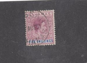 BAHAMAS # 112 VF-KGV1 5sh LIGHTLY USED CAT VALUE $20+