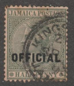 Jamaica Stamp, Scott# 02,  used, OFFICIAL, grey/green  #M684