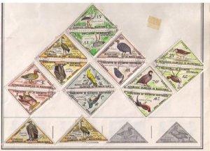 Mauritania Postage Due Sc J36-J41 Many Used Vulture Triangular (7)Pairs Hinged