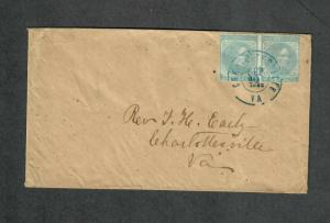 Charlottesville VA Cover Sep 10 1862 CSA Sc#6 Pair Overpaid Drop Letter
