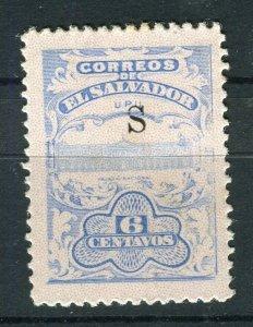 SALVADOR; 1915-16 Unissued Remainders ' S ' Optd fine Mint hinged 6c. value