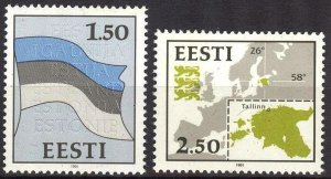 Estonia 1991 Definitive issue Flags Maps Set of 2 MNH