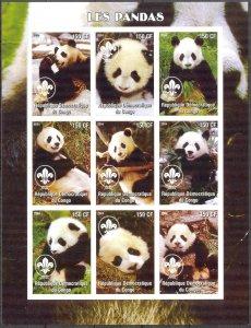 Congo 2004 Pandas Sheet of 9 Imperf. MNH Cinderella !