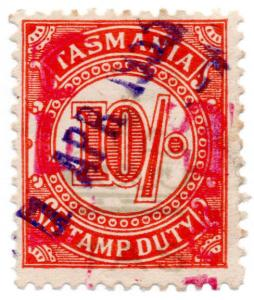 (I.B) Australia - Tasmania Revenue : Duty Stamp 10/- (underprint)