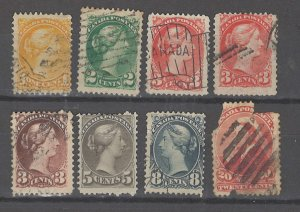 COLLECTION LOT # 3199 CANADA 8 STAMPS (#46 FAULTY) 1870+ CV+$18