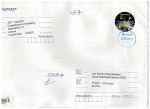 Kazakhstan 2019 Registered Cover to Poland Stamps Space Satellite