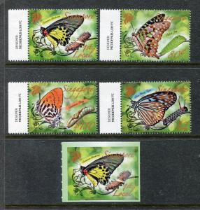 Singapore 1423-1427, MNH, Insects  Batterflies 2010. x28315