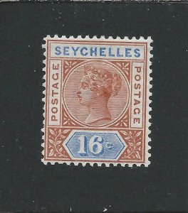 SEYCHELLES 1890-92 DIE 2 16c CHESTNUT & ULTRAMARINE MM SG 14 CAT £45