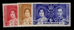 BARBADOS GVI SG245-247, CORONATION set, M MINT.