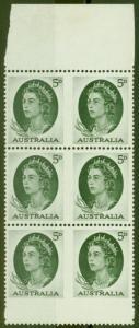 Australia 1963 5d Dp Green SG354cb Booklet Pane of 6 V.F MNH