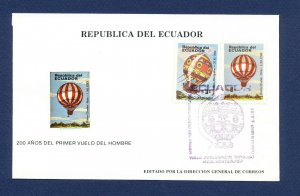 ECUADOR - # 1058-1059 - FDC - Balloon Flight - 1984
