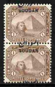 Sudan 1897 Overprint on 1m pale brown vert pair with opt ...