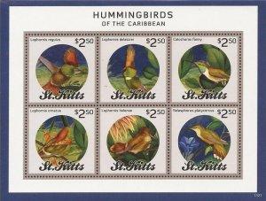 St Kitts - 2014 Hummingbirds of the Caribbean - 6 Stamp Sheet - Scott #862