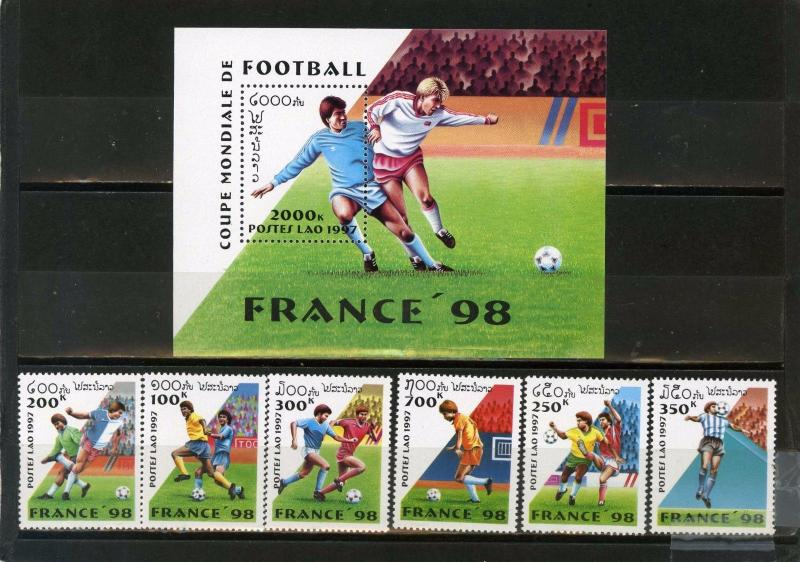 LAOS 1997 SOCCER WORLD CUP FRANCE SET OF 6 STAMPS & S/S MNH