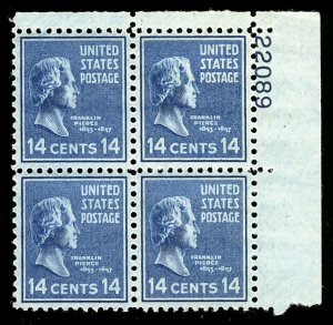 US #819 PLATE BLOCK, XF-SUPERB mint never hinged, post office fresh,  SUPER S...