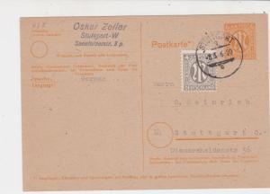 Germany 1946 Stuttgart Cancel Allied Occupation Stamp Card to Stuttgart Ref25863