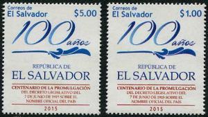 HERRICKSTAMP NEW ISSUES SALVADOR 100 Years Official Name - El Salvador