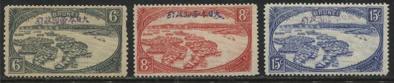 Brunei 1942 Japanese Occupation 6¢ slate gray, 8¢ carmine &15¢ ultra mint o.g.