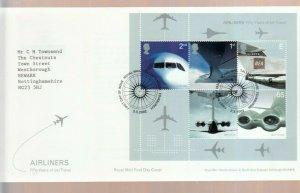 GB 2002 AIRLINERS MINI SHEET FDC ADDRESSED,  EDINBURGH CANCEL