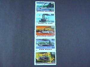 U.S.# 3091-3095(3095a)-MINT/NH-VERT. STRIP OF 5-RIVERBOATS-1996