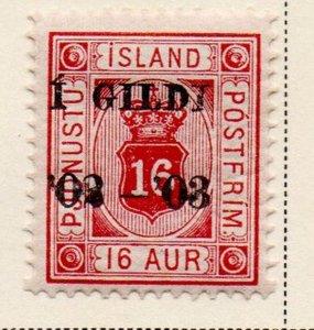 Iceland Sc O28 1902 16 aur official stamp overprinted  mint