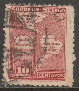 MEXICO 661, 10¢ POSTAL CONGRESS. AMERICA MAP. USED. VF. (435)