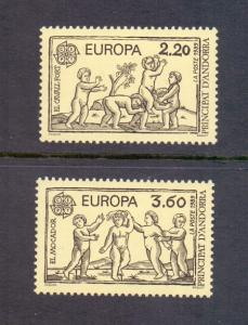 Andorra French 1989  MNH Europa children`s games strong horse and handkerchief