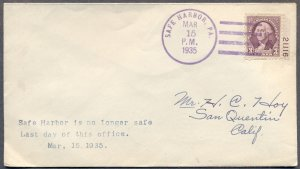 SAFE HARBOR, PENNSYLVANIA: March 15,1935 Last Day Cover to San Quentin