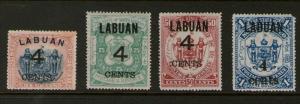 Malaya S. Setts. Labuan 1899 SG 107-110 MH