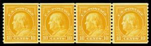 Scott 497 1922 10c Franklin Coil Mint Joint Line Strip of 4 F-VF OG NH Cat $330