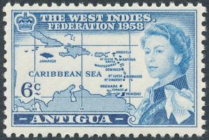 Antigua 1958 6c Blue SG136 MVLH