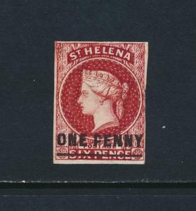 ST HELENA 1863, 1d IMPERF TYPE B, VF MINT SG#4 CAT£160 $208 (SEE BELOW)