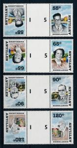 [95162] Netherlands Antilles 1988 Famous Persons Gutter Pairs MNH