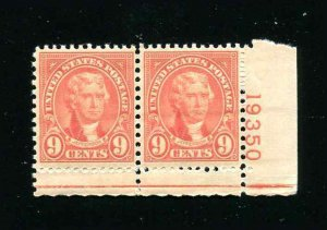Sc# 641 9¢ Jefferson With Plate Number Tab MNH