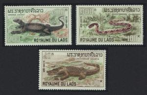 Laos Snake Crocodile Viper Monitor Reptiles 3v SG#224-226 SC#157-159