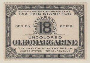 U.S. Scott #FE-83 Series of 1931 Oleomargarine - Springer Stamp - Unused Single