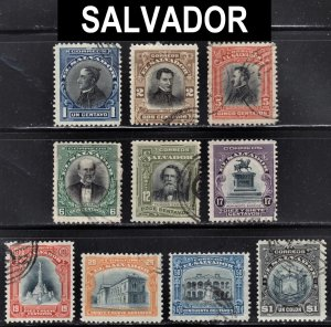 El Salvador Scott 402-11 complete set F to VF used.